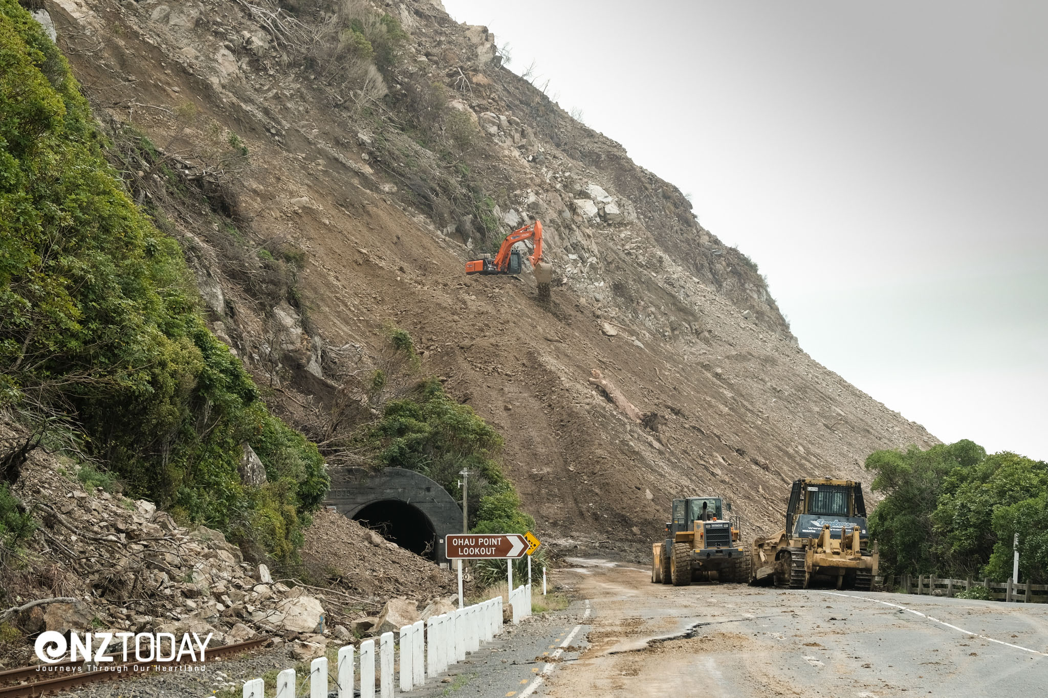 Ohau Point today – you can see a lot of rock has been removed. This is a massive slip and extremely difficult