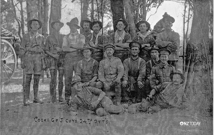 John Leslie, middle row far right and James Leslie, middle row far left – photo Whangaroa County Museum and Archives
