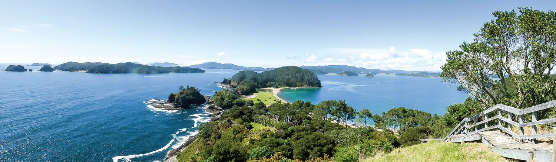 The view from the top of Motuarohia Island