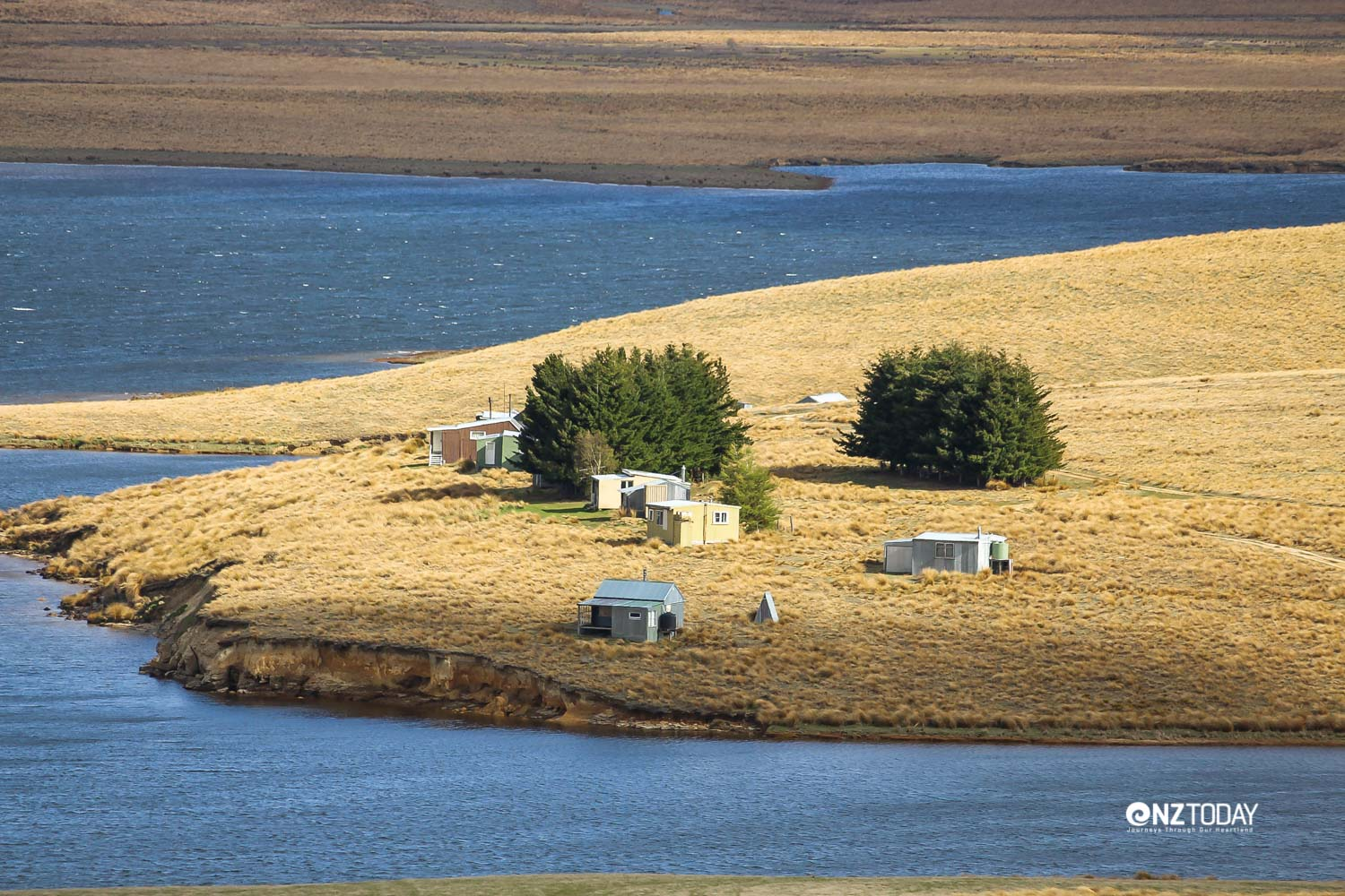 The collection of fishing huts at Lake Onslow