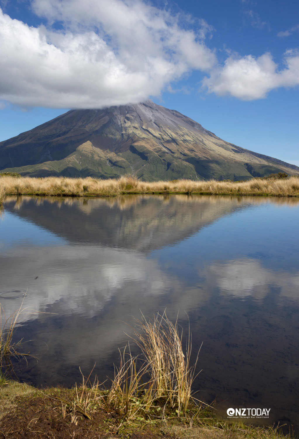 The mysterious Mt Taranaki reflected in the Pouakai Tarns