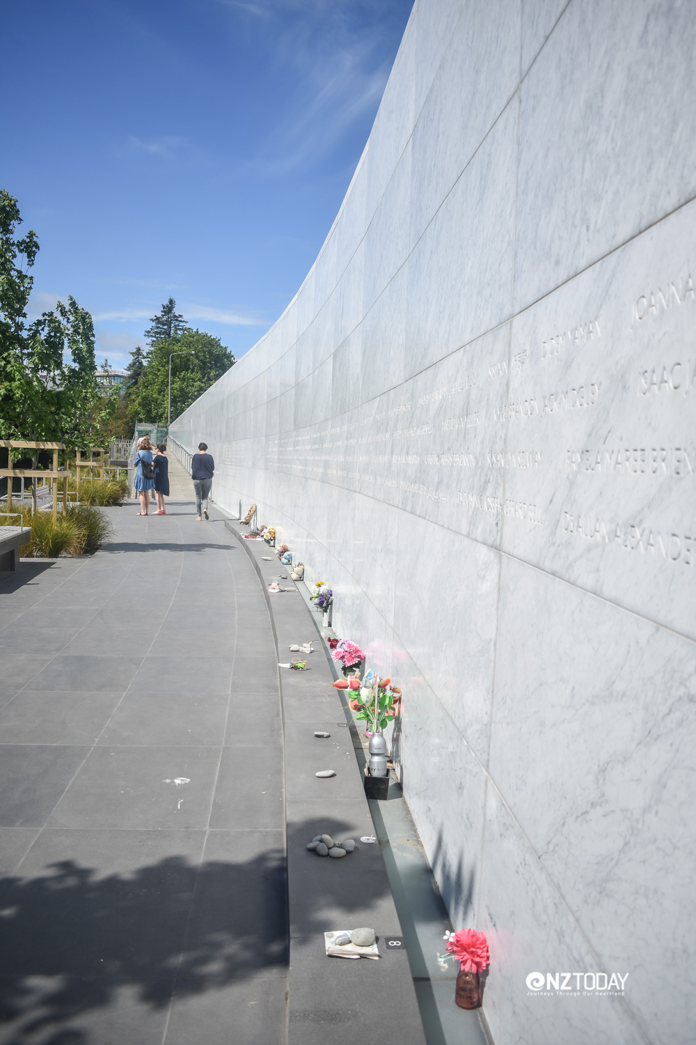 The names of those who died are engraved in the wall