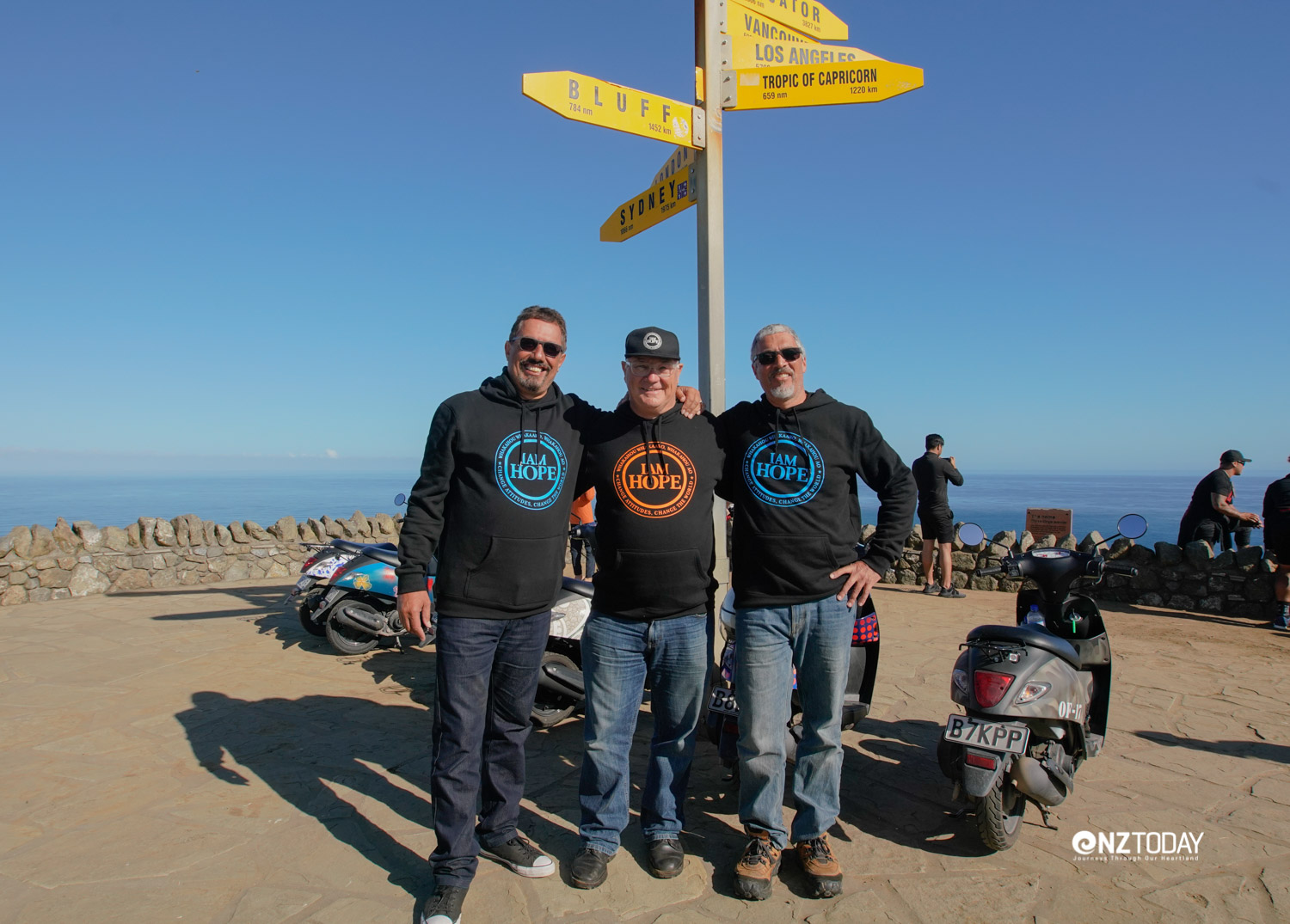 Made it. Mike King, Stephen Gray and Dallas Gopi, the three riders who did the entire trip from Bluff to Cape