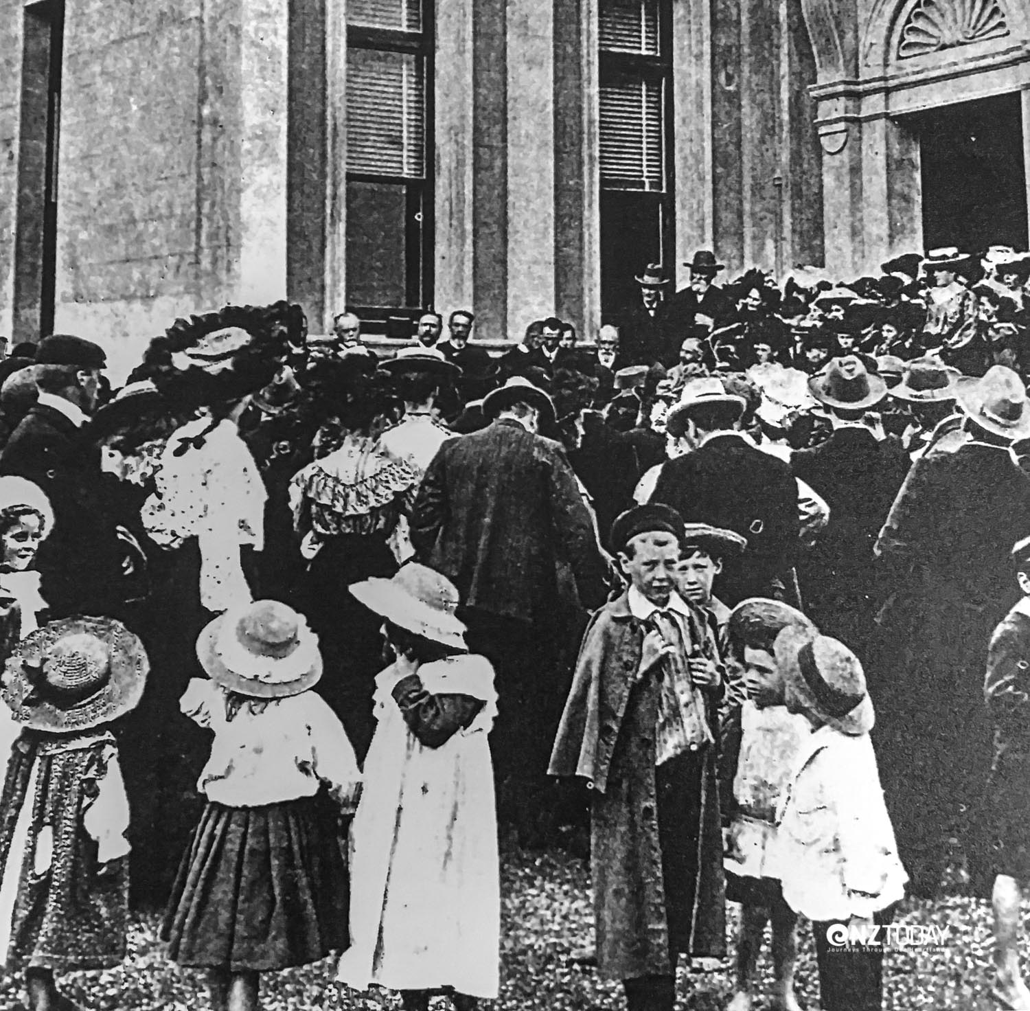 Crowds at the opening of the Leys Institute- 1905