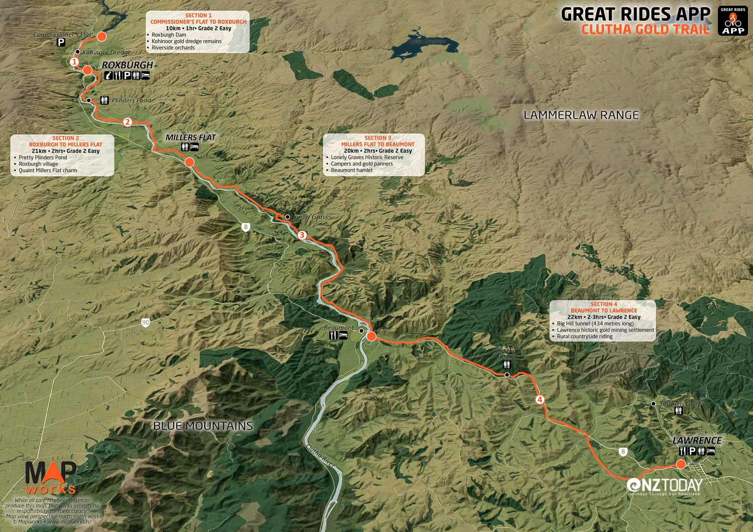 Overview map of the Clutha Gold Trail