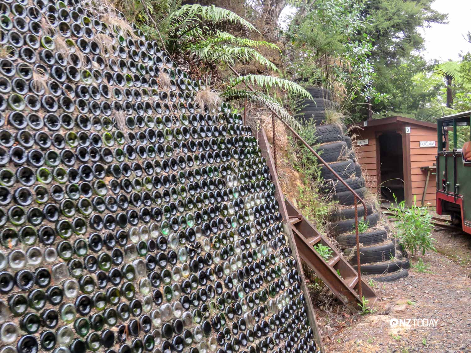 Bricks and bottles are used for retaining walls