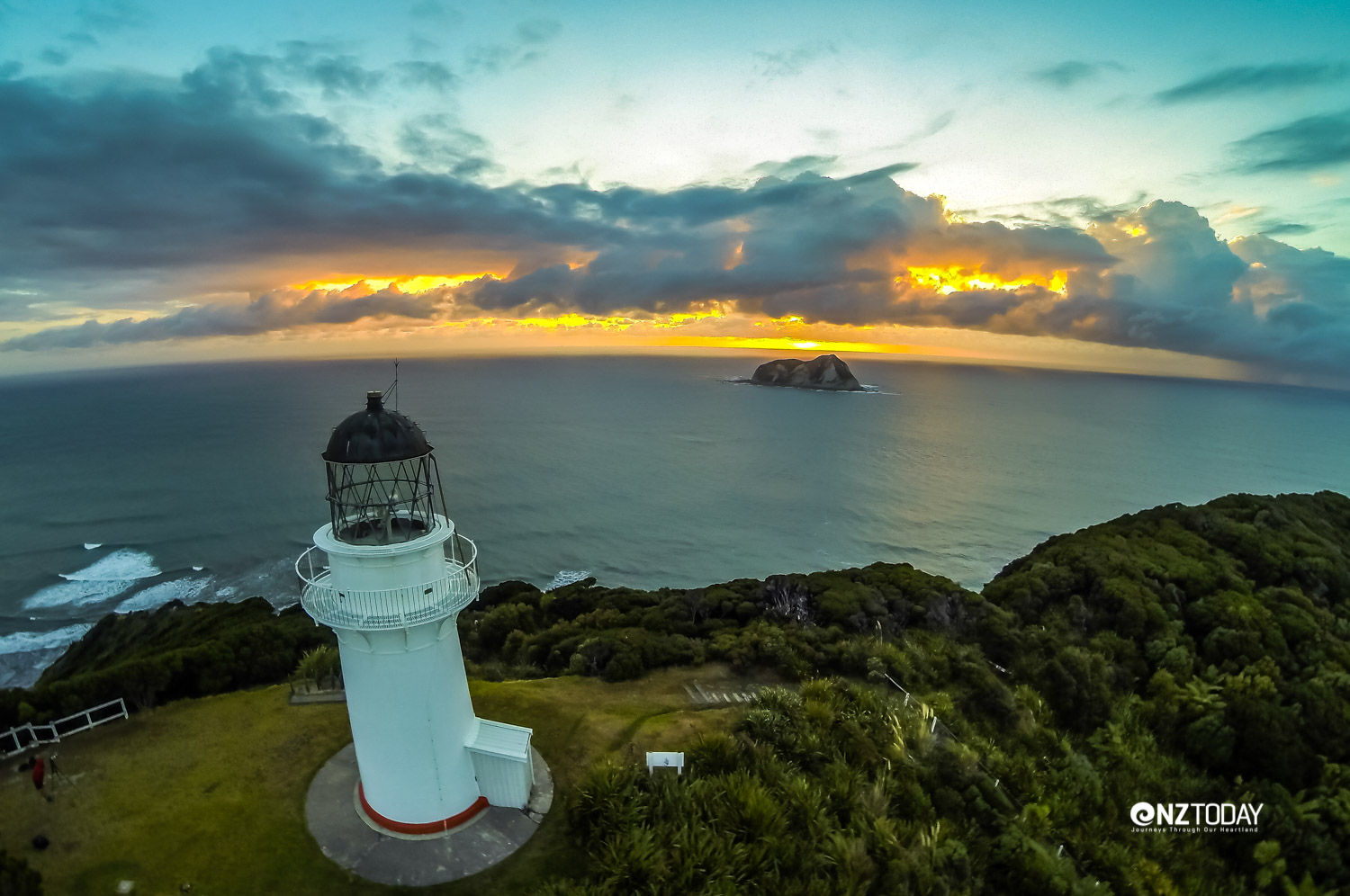 Sunset from East Cape Lighthouse. Photo by Bare Kiwi