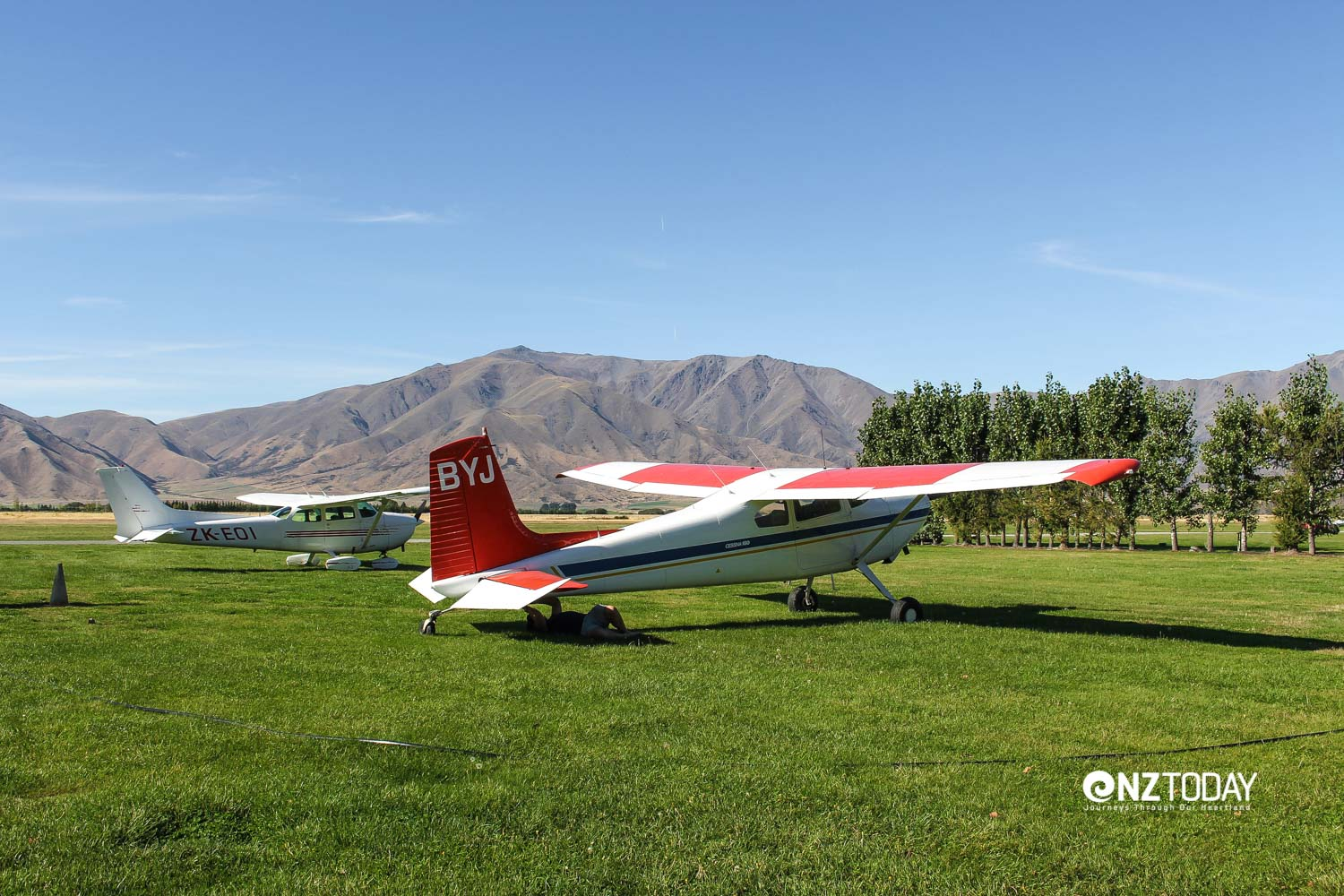 Our two aircraft parked up at Omarama while the crews have a late lunch